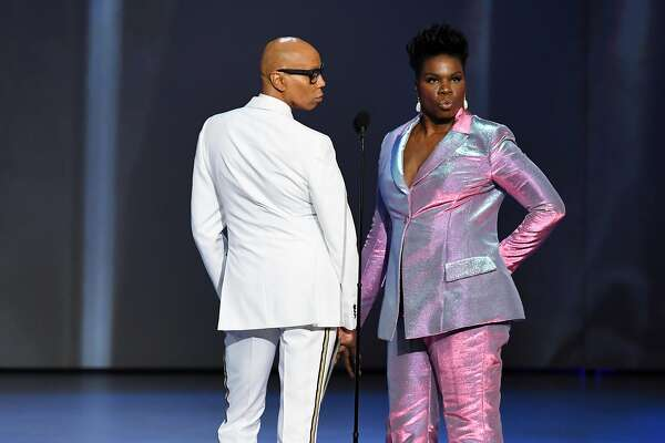 LOS ANGELES, CA - SEPTEMBER 17: RuPaul (L) and Leslie Jones pose onstage during the 70th Emmy Awards at Microsoft Theater on September 17, 2018 in Los Angeles, California. (Photo by Kevin Winter/Getty Images)