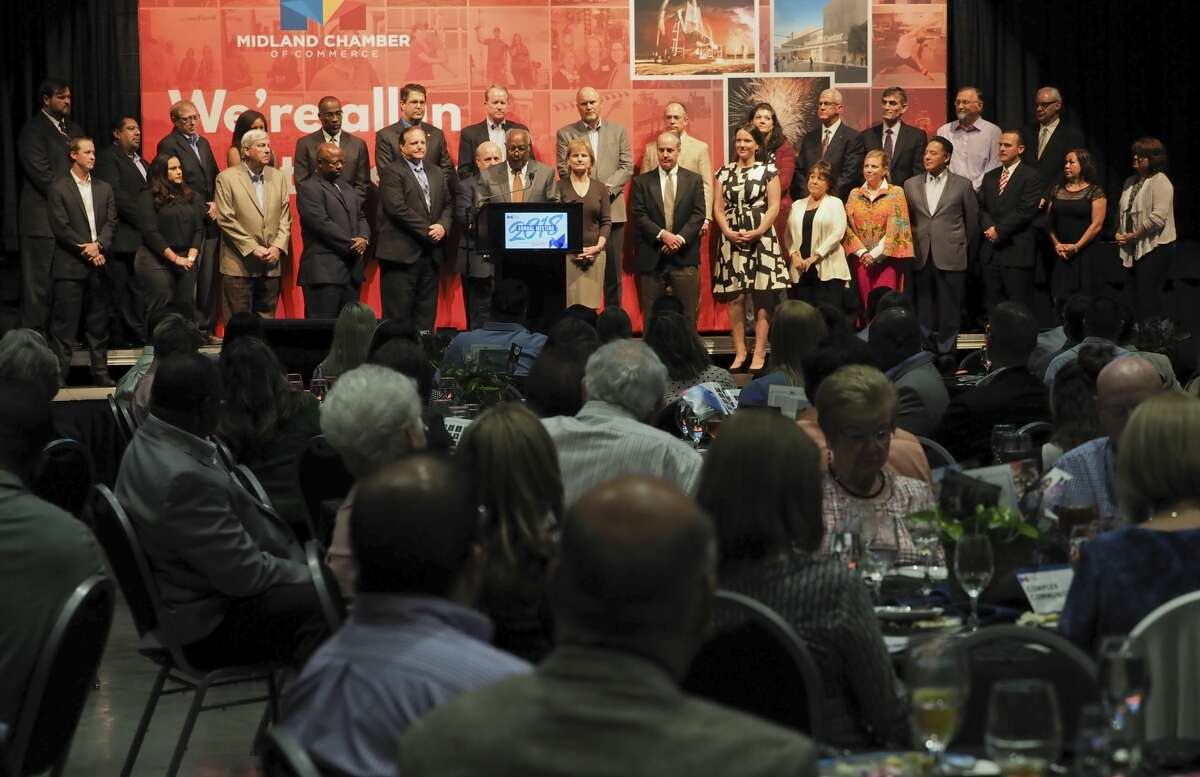 City and county officials addressed what to do about upcoming indoor meetings like those held at city and county convention facilities. Shown here is the 2018 Midland Chamber of Commerce's Annual Meeting. Midland Chamber past chairman G. Larry Lawrence installs the new and returning board members 09/18/18 at the annual Chamber of Commerce meeting. Tim Fischer/Reporter-Telegram