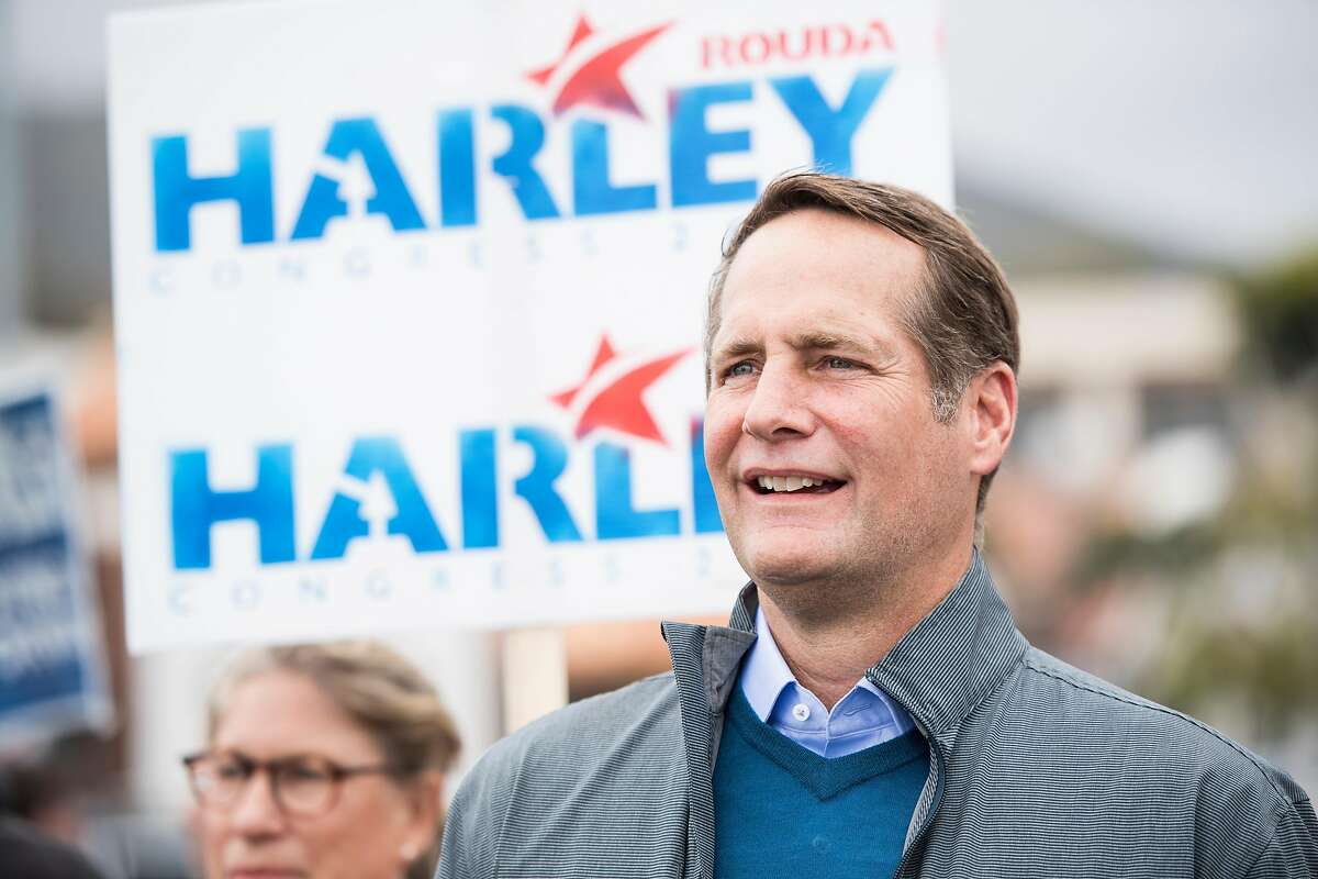 UNITED STATES - MAY 20: Harley Rouda, Democrat running for California's 48th Congressional district seat in Congress, listens to speakers during his campaign rally in Laguna Beach, Calif., on Sunday, May 20, 2018. California is holding its primary election on June 5, 2018. (Photo By Bill Clark/CQ Roll Call)