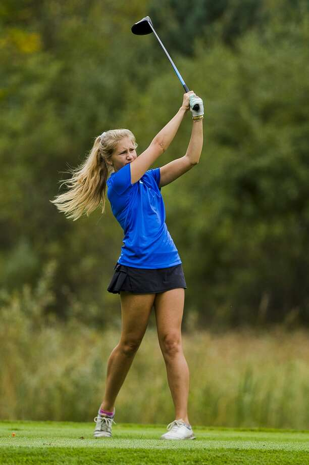 Midland's Meggie Gandy competes in the Frank Altimore Invitational on Tuesday, Sept. 18, 2018 at Currie Golf Course. (Katy Kildee/kkildee@mdn.net) Photo: (Katy Kildee/kkildee@mdn.net)