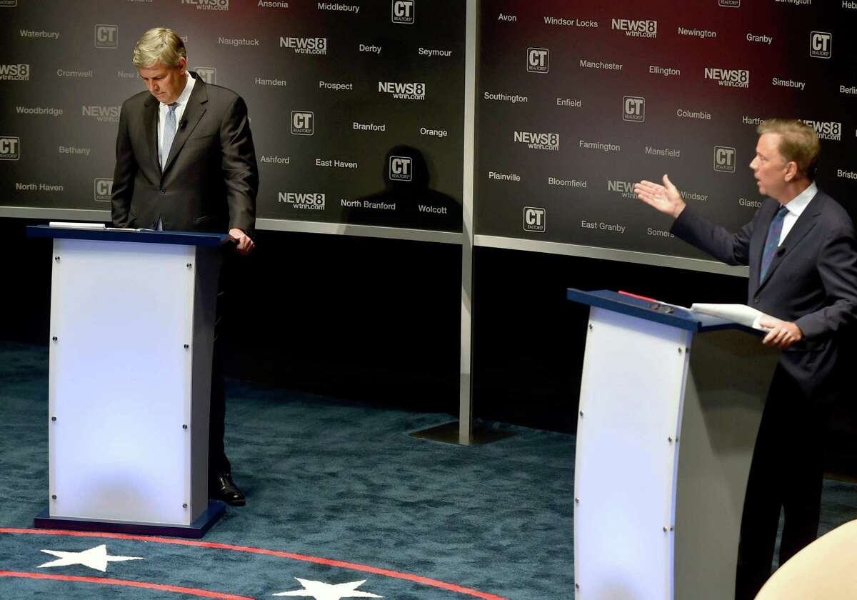 The second debate between candidates for governor, Republican Bob Stefanowski, left, and Democrat Ned Lamont on Monday at the Shubert Theatre in New Haven. The gubernatorial debate is sponsored by the Connecticut Association of Realtors in partnership with WTNH News 8.