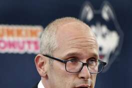 UConn men's basketball coach Dan Hurley has secured his first 2019 recruit as guard James Bouknight committed to the Huskies. (AP Photo/Stephen Dunn)