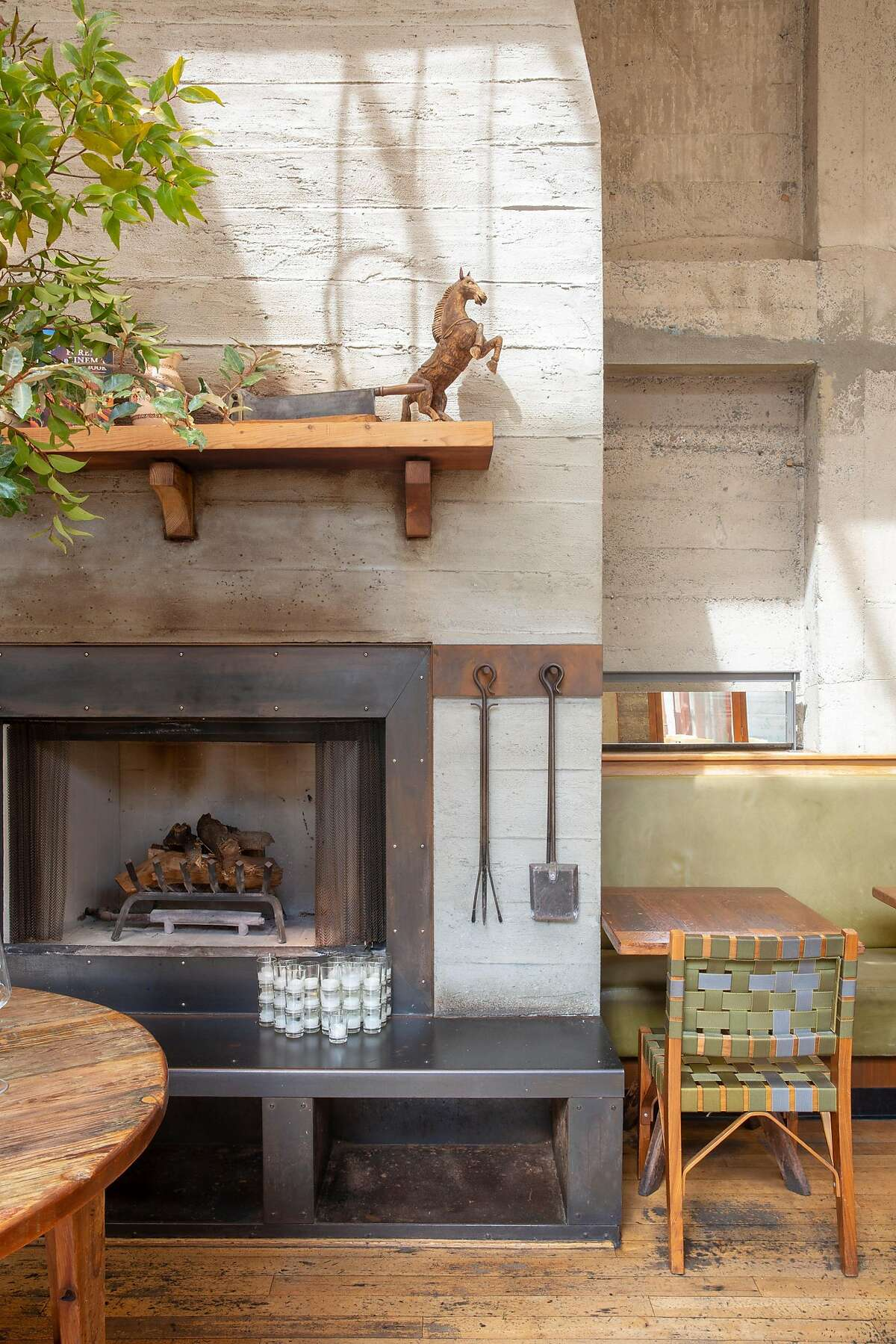 The wood fired hearth in the main dining area in Foreign Cinema at 2534 Mission St, San Francisco