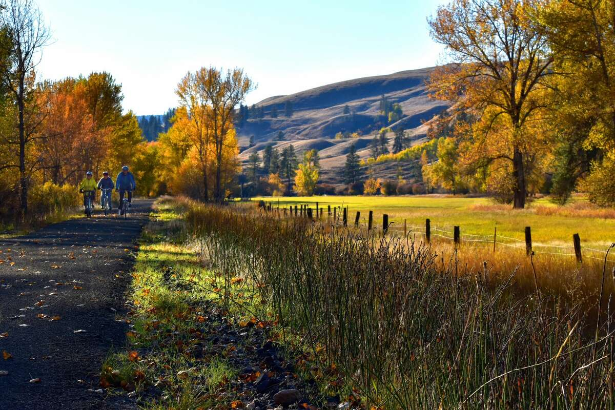 Fall colors in peak form are seen along the Kettle River trail in Ferry County, Washington.