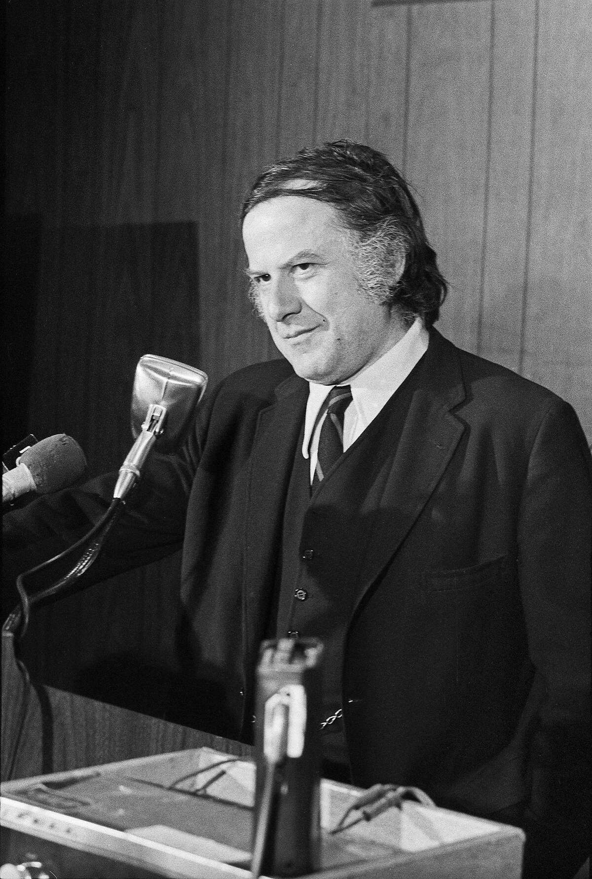 FILE -- Alan Abel, a professional hoaxer, at a news conference where he posed as a former White House employee who supposedly possessed the infamous 18 1/2 minutes missing from the Watergate tapes, at the Roosevelt Hotel in Manhattan, Nov. 8, 1973. The professional trickster who gleefully hoodwinked the American public � including making himself the subject of an earnest news obituary in The New York Times in 1980 � apparently actually did die, at his home in Southbury, Conn. He was 94. (Robert Walker/The New York Times)