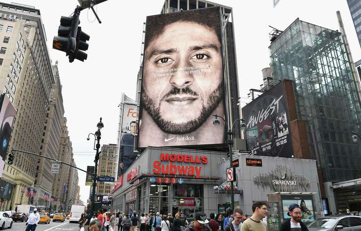 A Nike Ad featuring American football quarterback Colin Kaepernick on display September 8, 2018 in New York City.