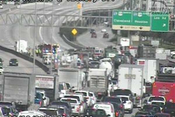 All eastbound lanes of the North Beltway are closed just west of the Eastex Freeway after a three-vehicle crash Tuesday afternoon.