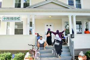 Students on their way to an English class for adult refugees and immigrants at the RISSE outreach center in the Pine Hills neighborhood Tuesday Sept. 18, 2018 in Albany, NY.  (John Carl D'Annibale/Times Union)