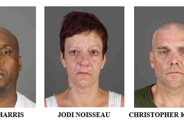 From left to right; Tamale Harris, Jodi Noisseau and Christopher Kondracki. All three were arrested in connection to the homicide of Keisha Richards in March.