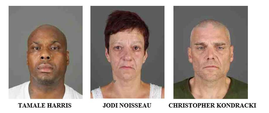 From left to right; Tamale Harris, Jodi Noisseau and Christopher Kondracki. All three were arrested in connection to the homicide of Keisha Richards in March. Photo: Albany County District Attorney
