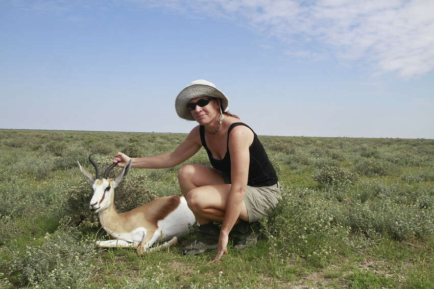 Wendy Turner, biological science professor at the University at Albany won a $2.5 million grant to study how anthrax spreads among wildlife. The species of antelope she is with in this photo is especially vulnerable to anthrax as are zebras. (Wendy Turner)
