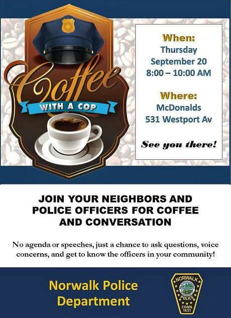 On Thursday, Sept. 20, 2018, Norwalk, Conn., officers are hosting Coffee with a Cop. Photo: Contributed Photo / Norwalk Police Department / Contributed Photo / Connecticut Post Contributed