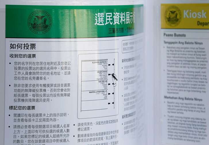 Voter information is printed in several languages in a polling place at the Chinese Recreation Center on Mason Street in San Francisco, Calif. on Tuesday, Nov. 3, 2015.