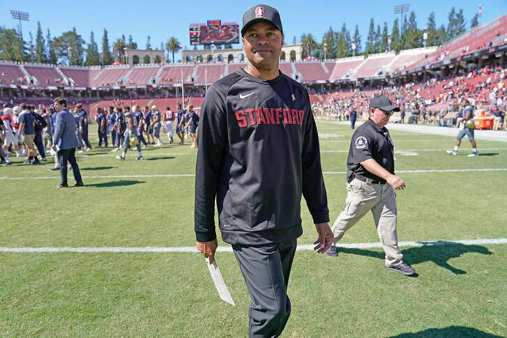 Stanford Cardinal head coach David Shaw following an NCAA football game between the Stanford Cardinal and UC Davis Aggies at Stanford Stadium, Saturday, Sept. 15, 2018, in Stanford, Calif. The Cardinal won 30-10.