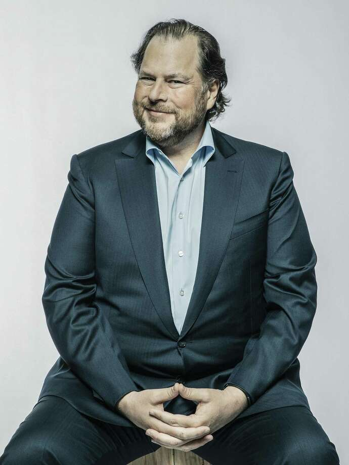 Marc Benioff, chief executive of Salesforce, who recently purchased Time magazine, in San Francisco, April 2, 2018. Benioff has long been a prominent figure in his hometown, and now he and his wife have acquired Time magazine for $190 million. Photo: MATT EDGE /NYT / NYTNS