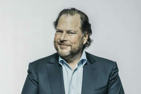 Marc Benioff, chief executive of Salesforce, who recently purchased Time magazine, in San Francisco, April 2, 2018. Benioff has long been a prominent figure in his hometown, and now he and his wife have acquired Time magazine for $190 million.