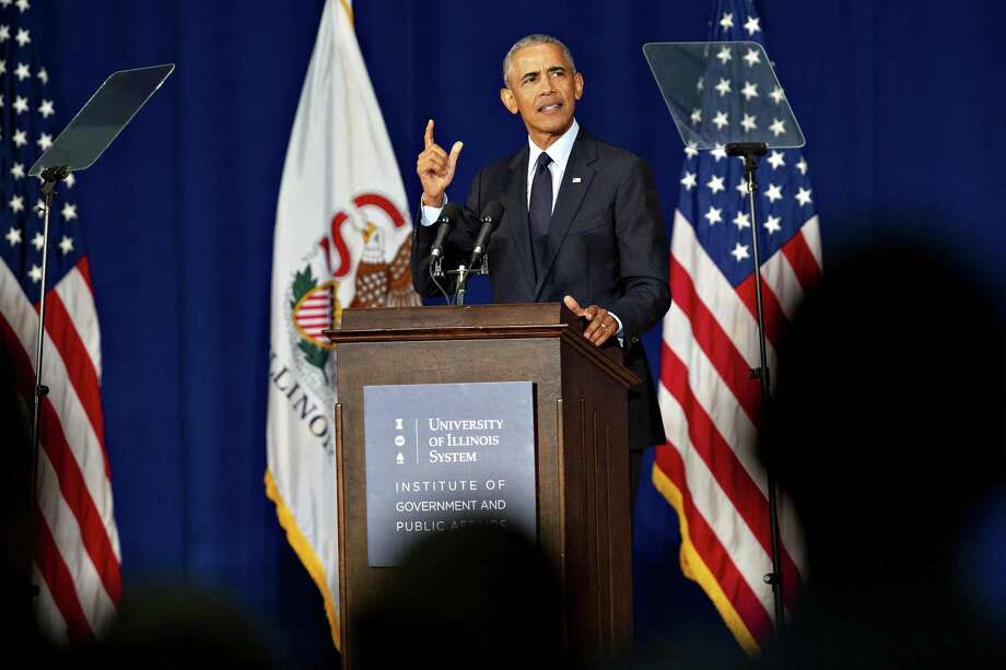 Former President Barack Obama speaks at the University of Illinois in Urbana, Ill., on Sept. 7. A reader says Obama's record clearly outshines George W. Bush's or Donald Trump's. Photo: Daniel Acker /New York Times / NYTNS
