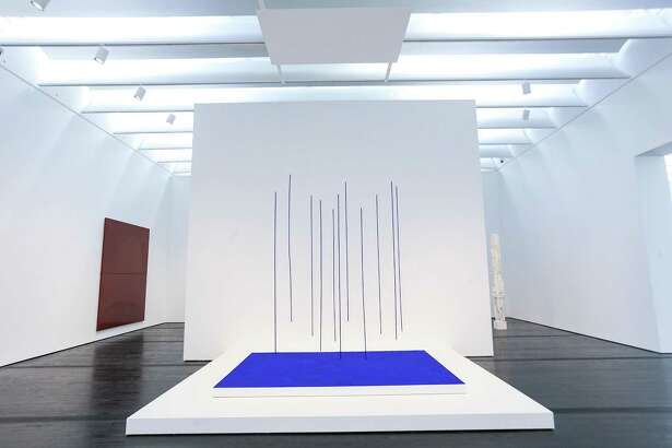 "Yves Klein's ""Blue Rain"" (Pluie Bleue) has belonged to the Menil Collection for years but will be on display there for the first time when the museum reopens Saturday. It's on view in the post-war and contemporary art galleries in the east wing."