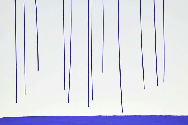 """A detail of Yves Klein's """"Blue Rain,"""" which has not previously been shown with its pit of pigment at the Menil."""