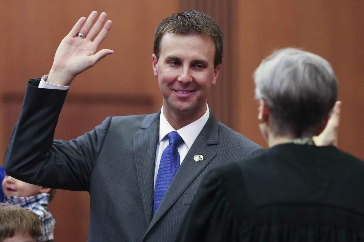 U.S. Attorney Ryan K. Patrick is sworn in at an investiture ceremony by United States District Court for the Southern District of Texas Chief Judge Lee H. Rosenthal at the federal courthouse Tuesday Sept. 18, 2018, in Houston.
