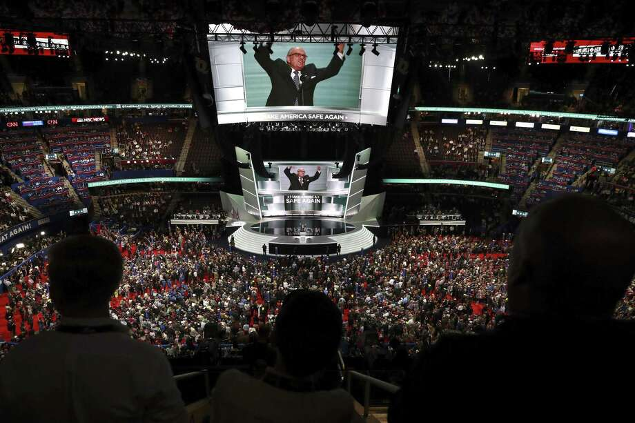Rudy Giuliani speaks during the Republican National Convention at the Quicken Loans Arena in Cleveland, July 18, 2016. Photo: JOSH HANER, STF / NYT / NYTNS