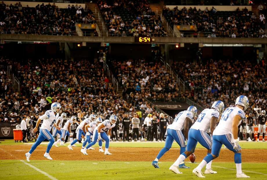 The NFL has said a kickoff is more likely to result in concussions than other plays. The new rule in 2018, mandates that players on the kickoff team can line up only one yard behind the line of scrimmage, eliminating the past running five-yard start. The Detroit Lions kick off during Week 1 of an NFL preseason game against the Oakland Raiders at the Oakland Coliseum, Friday, Aug. 10, 2018, in Oakland, Calif. Photo: Santiago Mejia / The Chronicle
