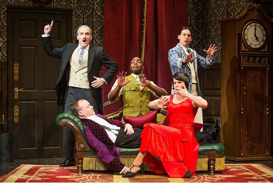 "From left, Harrison Unger, Jonathan Fielding, Clifton Duncan, Amelia McClain, Alex Mandell in the Olivier and Tony Award-winning production of ""The Play That Goes Wrong"" (Broadway Cast). Photo: Jeremy Daniel / Contributed Photo / / Photo: Jeremy Daniel (Instagram @JeremyDanielPhoto)"