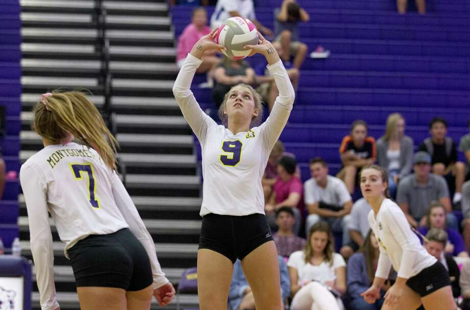 Montgomery''s Ally Williams (9) sets the ball during the first set of a District 20-5A high school volleyball game at Montgomery High School, Tuesday, Sept. 18, 2018, in Montgomery. Photo: Jason Fochtman, Houston Chronicle / Staff Photographer / © 2018 Houston Chronicle
