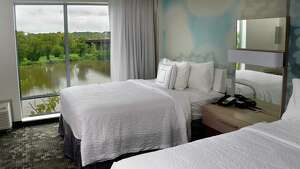 A two queen room with a river view at the new Courtyard by Marriott hotel on the banks of the Hudson River Tuesday Sept. 18, 2018 in Troy, NY.  (John Carl D'Annibale/Times Union)
