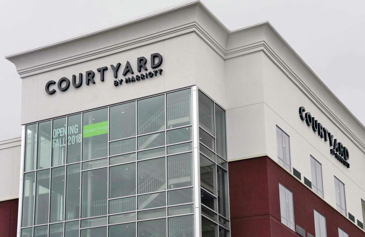 The new Courtyard by Marriott hotel on the banks of the Hudson River Tuesday Sept. 18, 2018 in Troy, NY. (John Carl D'Annibale/Times Union)