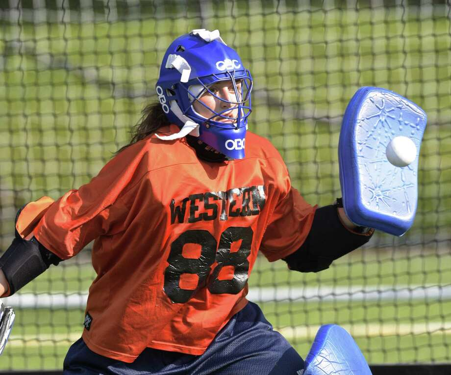 Goalie Neve Manion during Western Connecticut State field hockey practice Aug. 24. Photo: H John Voorhees III / Hearst Connecticut Media / The News-Times