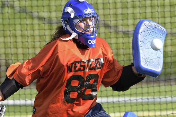 Goalie Neve Manion during Western Connecticut State field hockey practice Aug. 24.