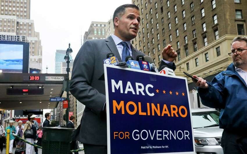 New York Republican gubernatorial candidate Marc Molinaro is pushing for a one-on-one debate with Gov. Andrew Cuomo (AP Photo/Bebeto Matthews)