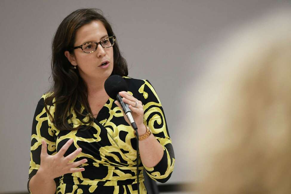Congresswoman Elise Stefanik speaks to the Upstate Conservative Coalition at the Milton Community Center on Tuesday, Sept. 18, 2018 in Ballston Spa, N.Y. (Lori Van Buren/Times Union)