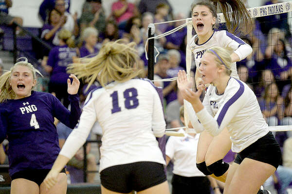Port Neches-Groves celebrates after scoring against Nederland during their match-up at PNG Tuesday. Tuesday, September 18, 2018 Kim Brent/The Enterprise