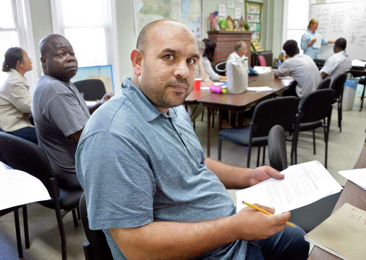 Hamid Altaan, a Syrian refugee father of seven daughters learning English for the first time at the RISSE outreach center in the Pine Hills neighborhood Tuesday Sept. 18, 2018 in Albany, NY. (John Carl D'Annibale/Times Union)