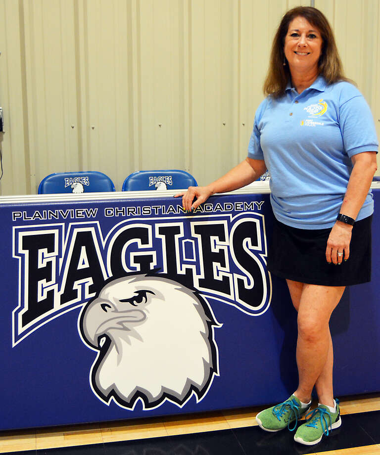 Peri Keefner took the position as Plainview Christian Academy's junior varsity and varsity head volleyball coach just after Labor Day. After a 20-year coaching hiatus, she said it was 'the grace of God' that allowed her to coach again. Photo: Alexis Cubit/Plainview Herald