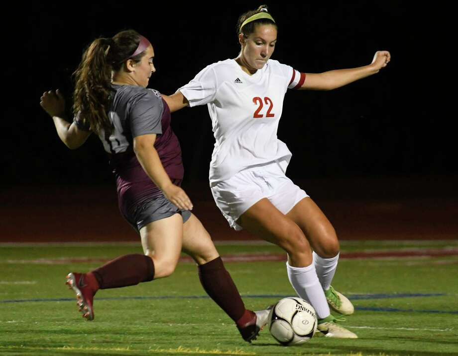 Tamarac's Abbie Hudspath looks to kick the ball from Stillwater's Olivia Mercier during a game at Stillwater High School on Tues., Sept. 18, 2018, in Stillwater, N.Y. (Jenn March, Special to the Times Union) Photo: Jenn March / © Jenn March 2018 © Albany Times Union 2018