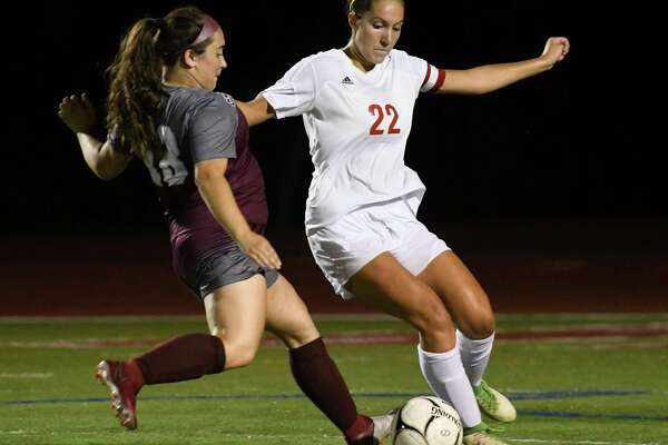 Tamarac's Abbie Hudspath looks to kick the ball from Stillwater's Olivia Mercier during a game at Stillwater High School on Tues., Sept. 18, 2018, in Stillwater, N.Y. (Jenn March, Special to the Times Union)