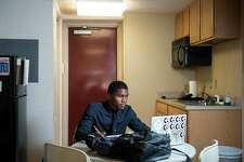 Saginaw Valley State University student Ty'Shawn Short, a criminal justice major from Detroit, studies in his room in SVSU's First Year Suites. SVSU has claimed the No. 1 ranking among public universities and the No. 8 overall national ranking in the annual Best College Dorms in America rankings by Niche, which evaluates 1,370 colleges and universities nationwide. (Photo provided/Tim Inman, SVSU)