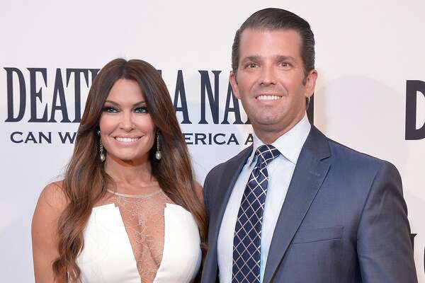 "WASHINGTON, DC - AUGUST 01: Donald Trump, Jr. and Kimberly Guilfoyle attend the DC premiere of the film, ""Death of a Nation,"" at E Street Cinema on August 1, 2018 in Washington, DC. (Photo by Shannon Finney/Getty Images)"