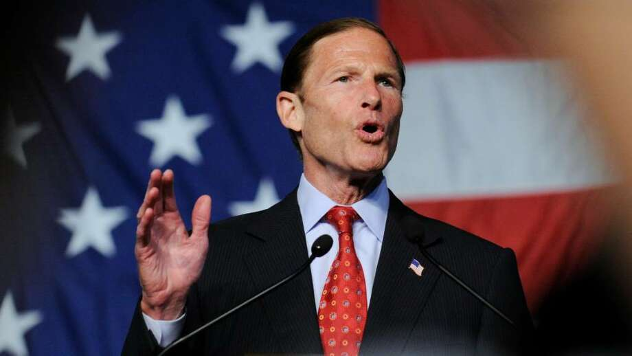Attorney General Richard Blumenthal gives acceptance speech as the Democratic candidate for U.S. Senator during 2010 State Democratic Convention at the Connecticut Expo Center, May 21, 2010, Hartford, Photo: Bob Luckey / Greenwich Time