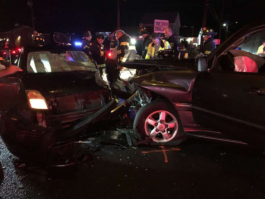 "A woman was seriously injured in a two-vehicle accident at North Benson Road and Post Road in Fairfield on Tuesday, Sept. 18, 2018. The female patient was extricated from the vehicle utilizing ""The Jaws of Life"" to remove the driver's side door within 11 minutes of arriving. Photo: Fairfield Fire Department"