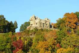 Overlooking the Connecticut River, Gillette Castle State Park is awash in autuumn colors.