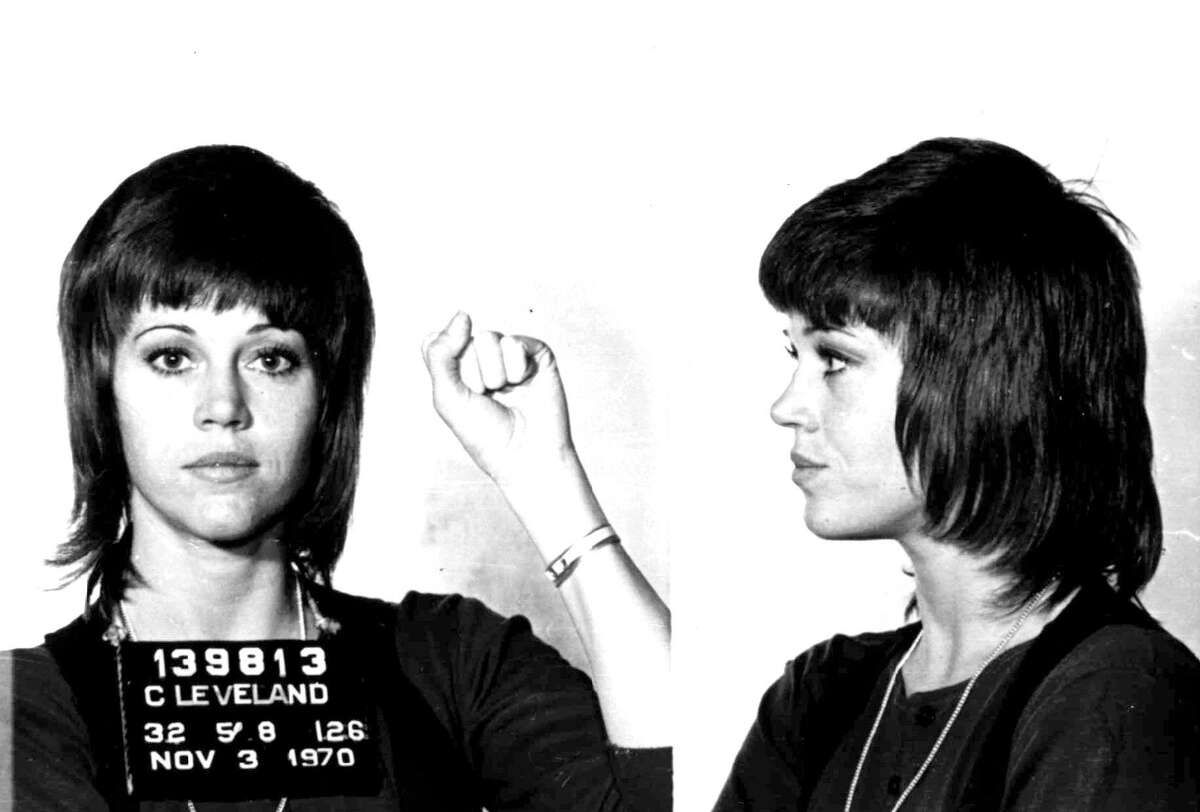 A mug shot from Jane Fonda's political protest days in the 1960s.