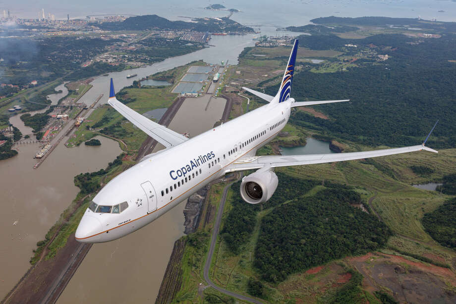 COPA Airlines Boeing 737 Max 9 flying over the Panama Canal locks at Miraflores, about 30 mins from downtown Panama City Photo: Chad Slattery, Copa Airlines / © 2018 Chad Slattery