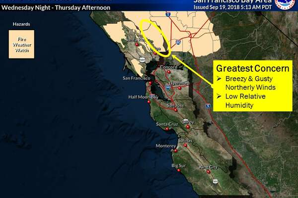A fire weather watch is in effect for the North Bay Wednesday evening through Thursday afternoon and the NWS advises against all outdoor burning.