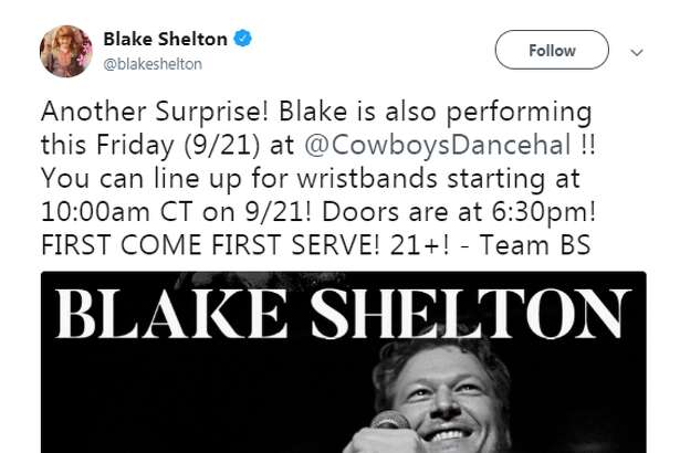 Country music superstar Blake Shelton announced a free, surprise San Antonio pop-up show in San Antonio this Friday.