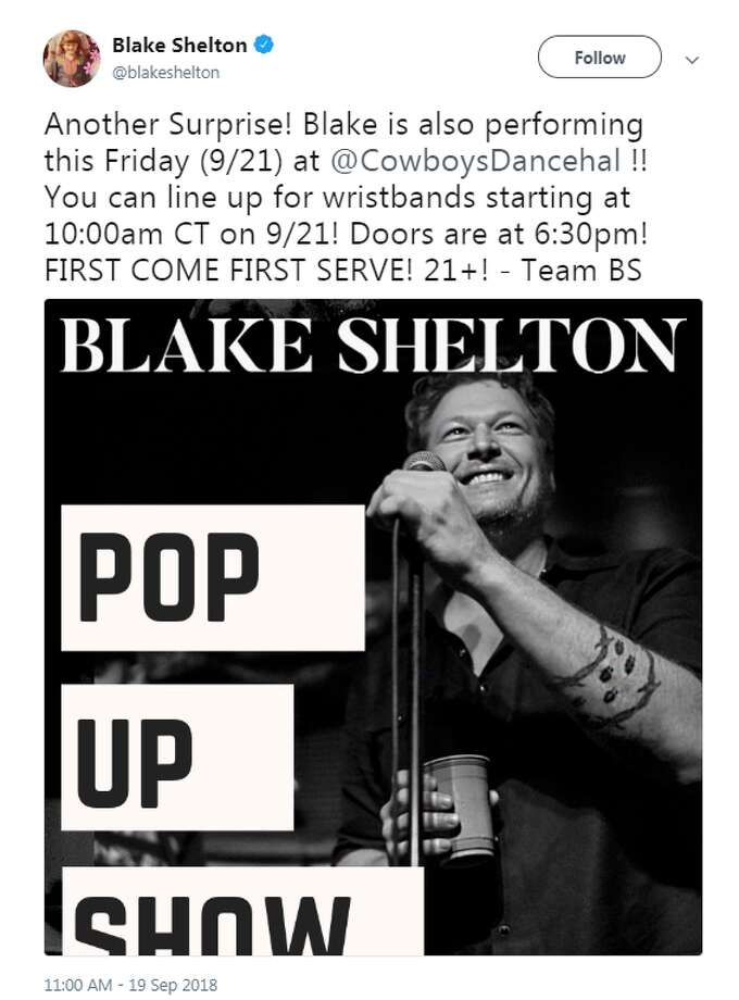 Country music superstar Blake Shelton announced a free, surprise San Antonio pop-up show in San Antonio this Friday. Photo: Twitter Screengrabs