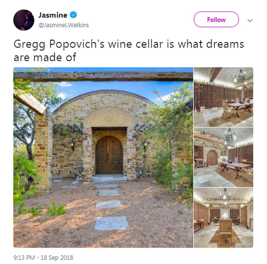 @JasmineLWatkins: Gregg Popovich's wine cellar is what dreams are made of Photo: Twitter Screengrabs